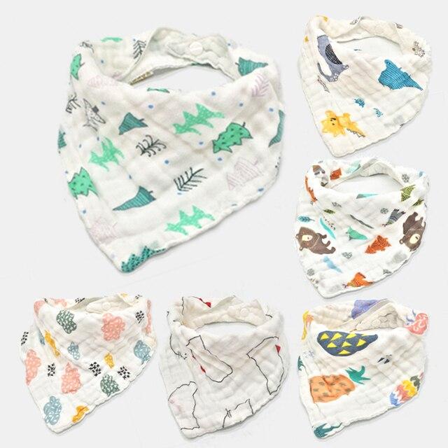 6 unids/lote Baberos de bebé niñas niños ropa de bebé estampado de dibujos animados bebé alimentación baberos Bandana hilo de algodón accesorio bebé