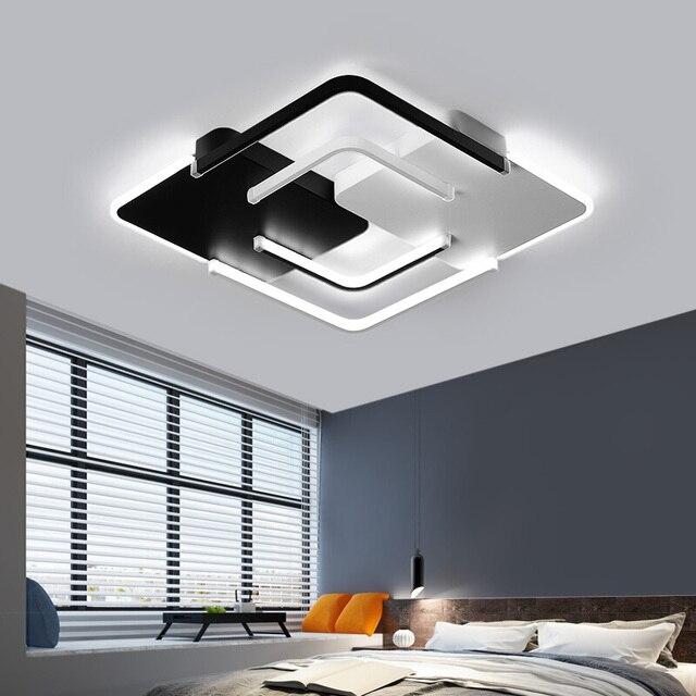 Lustre żyrandol oświetlenie LED salon sypialnia żyrandol z falą kwadratową biały czarny Lustre Avize żyrandole