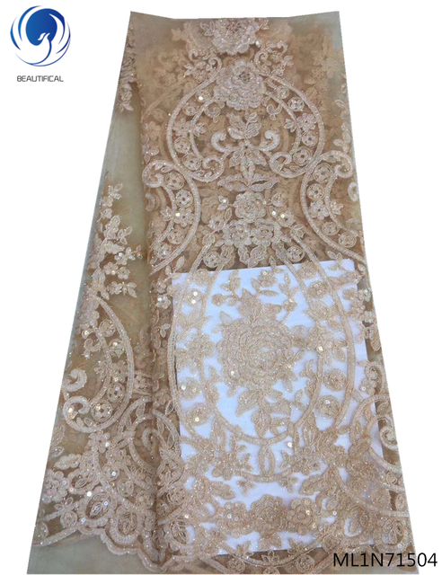 BEAUTIFICAL african lace fabric sequin lace fabric african lace fabric 2019 high quality lace latest design ML1N715