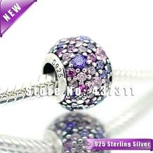 925 Encanto de Plata Esterlina Pavimenta Luces de Varios colores con Zirconia Mujer Joyería Europea Apta Del Encanto Pulseras y Collares Colgante