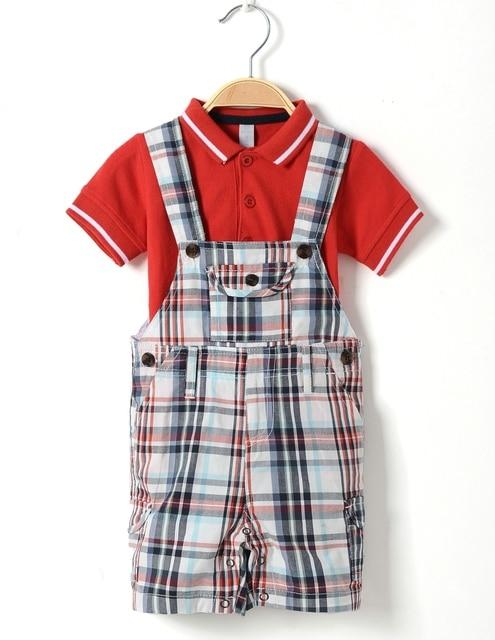 73dc82d984f7 summer newborn baby sets toddler baby boy overalls solid polo shirt children  dungaree undershirt plaid romper
