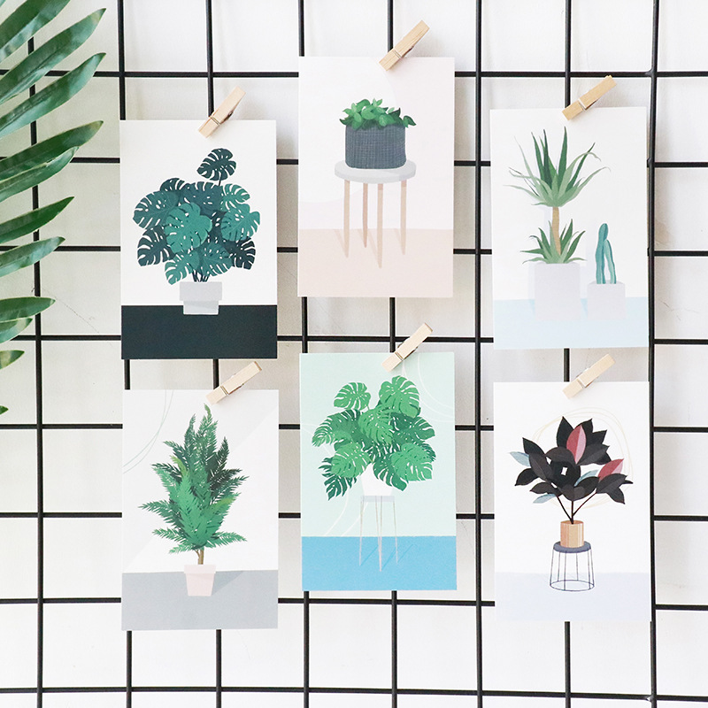 Korean Cute Green Plants Postcards Kawaii Potted Plants Message Note Creative Paper Bookmark Fresh Style Stationery