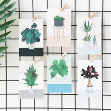 Korean Cute Green Plants Postcards Kawaii Potted Plants Message Note Creative Paper Bookmark Fresh Style Stationery(China)