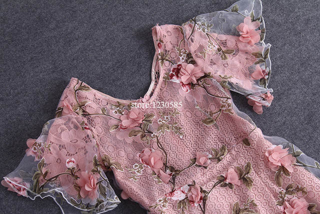 Gorgeous Pink Sheer Mesh Embroidery Dresses
