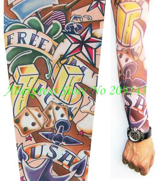 Free ShippingPunk Gothic Rock Luck And Freedom Tattoo Sleeve Arm StockingsTemporaty