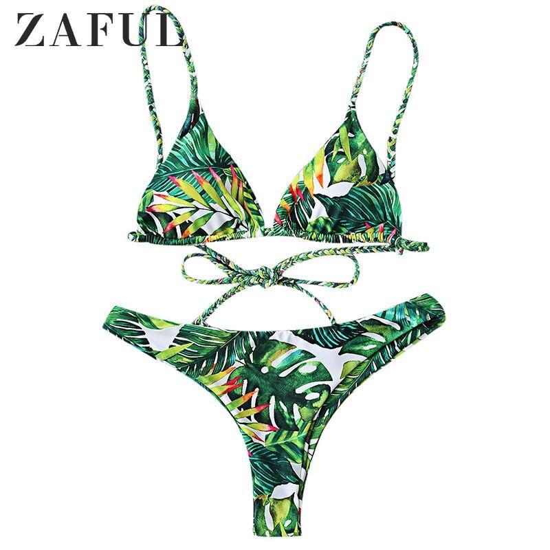 Bikinis Set Langstar Bikini Set Tropical Print Bathing Suit Bandage Brazilian Bikini Women Swimwear Swimsuit Biquinis Maillot De Bain 2019