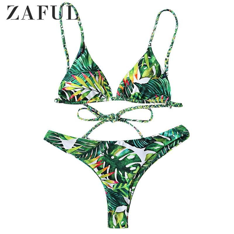 280b846256 LANGSTAR Bikini Set Tropical Print Bathing Suit Bandage Brazilian Bikini  Women Swimwear Swimsuit Biquinis maillot de