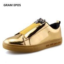Printemps Élastique Bande d'or lion tête Appartements Casual Pantent Cuir Hommes de Respirant confort de Marche Skate Chaussures Zapatos Hombre