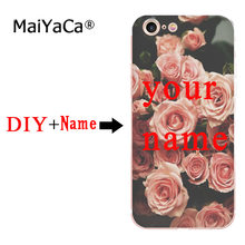 MaiYaCa rosa rose blume nach maß DIY Foto Name Mode telefon fall für iphone 11 pro 8 7 66S Plus X 10 5S SE XR XS XS MAX(China)