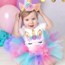 Vestidos para meninas de unicórnio, vestidos para meninas de 1 ano de aniversário, roupas de princesa para batizado, crianças e bebês vestido de noiva