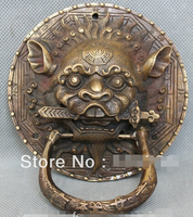 free shipping Chinese Fengshui Door Copper Bronze Lion Foo Dog Mask Head Sword Statue knocker