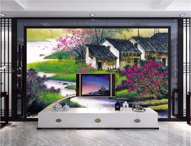 Custom mural 3d wallpaper picture Rural village bridge living room home  decor painting 3d wall murals wallpaper for walls 3 d