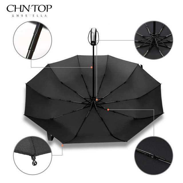 Dropshipping Folding Automatic Umbrella Rain Women Male Auto Luxury Big Windproof Umbrellas For Men Rain Black Blue 10K