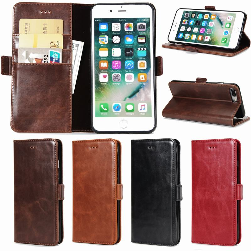 Luxury Brand Flip Case For Apple iPhone 7 Case Leather + Soft Silicone Wallet Phone Case iPhone 7 Plus Covers Mobile Phone Shell