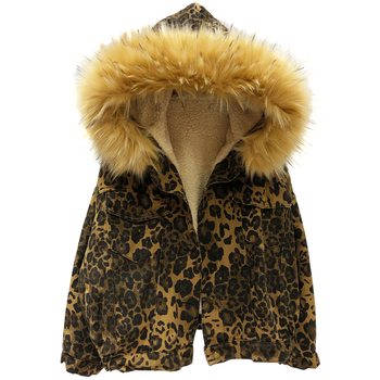 Leopard printing colorful denim cotton clothing female thick short style 2019 new Korean loose bf hair liner Harajuku parkas