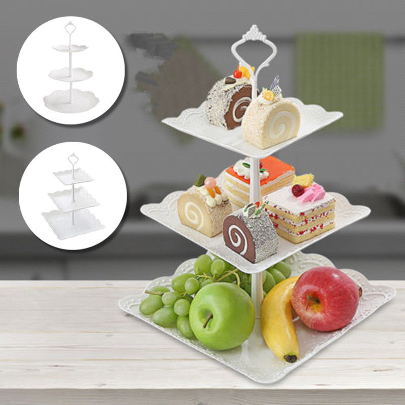 2019 Cupcake Stand Square Round Wedding Birthday Cake Display Tower 3 Tier-in Storage Trays from Home & Garden