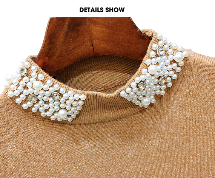 ALPHALMODA 18 Summer Ladies Short-sleeved Pearl Collar Pullovers Casual Slim Knit Sweater Women Studded Fashion Jumpers 37