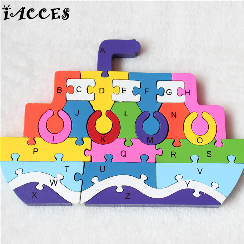 Kids Steamship and Rocket Wooden 3D Puzzle Toys Children Early Educational English Letters and Numerals Jigsaw Children Gifts children s early childhood educational toys the bear change clothes play toys creative wooden jigsaw puzzle girls toys