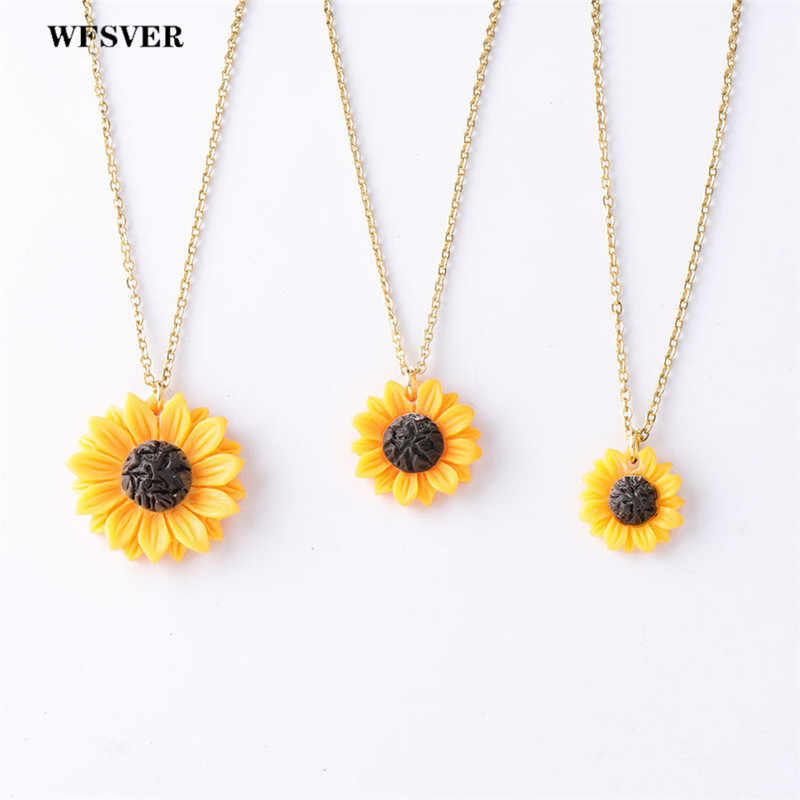 WFSVER sunflower pendant necklace stainless steel chain resin sunflower charms pendant for women fashion jewelry gift