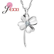 35b4a154bcf6 JEXXI Nueva joyería genuina de la plata esterlina 925 trébol de cuatro  hojas Cubic circón colgante collares mujeres boda nuevos .