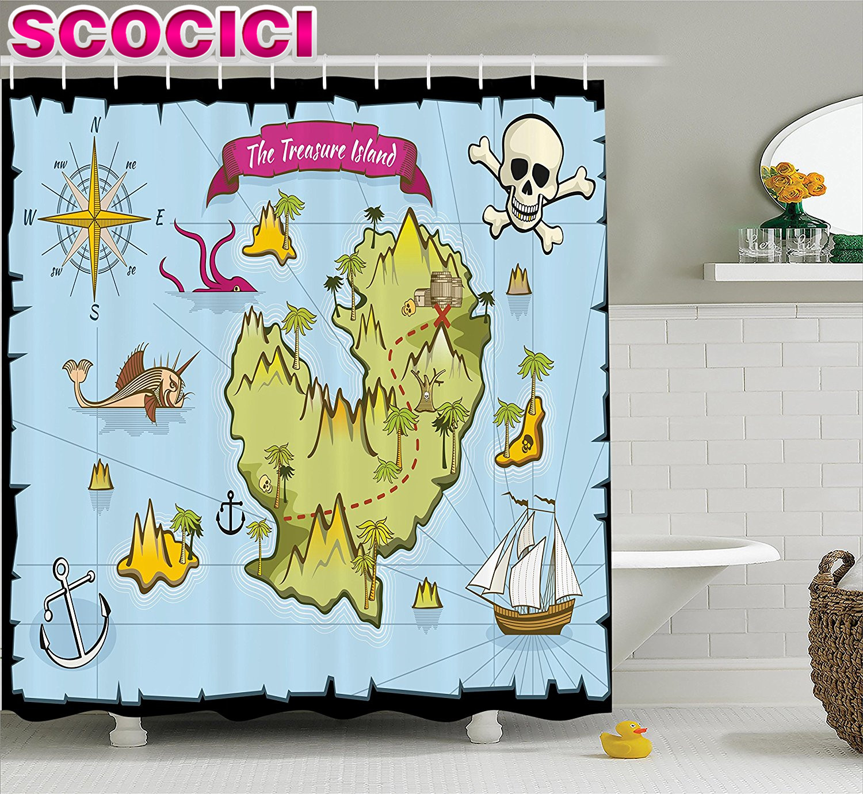 Treasure map shower curtain - Treasure Map Shower Curtain