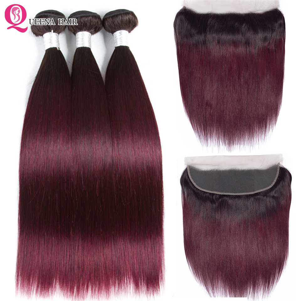 Lace Frontal With Bundles Deals Ombre 1B 99j Bundles With Frontal Raw Indian Human Hair Straight Bundles With Frontal Closure