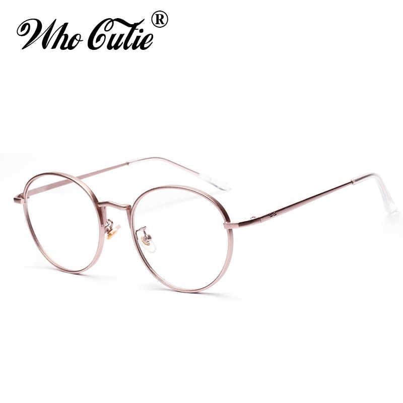02500469541f4 WHO CUTIE Round Clear Fake Glasses 2018 Women Circle Optical Lens Eyewear  Retro Gold Metal Frame