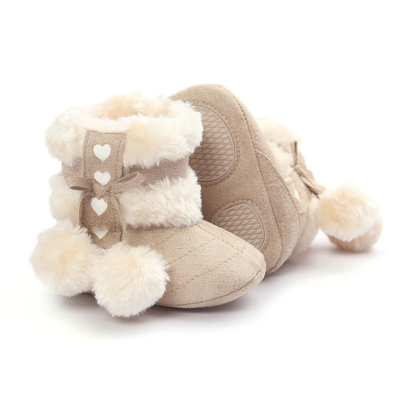Spring Winter Baby Boots Soft Plush Ball Booties For Infant Girls Anti Slip Snow Boot Keep Warm Cute Crib Shoes 2019