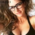 OLTLO Moda Óculos Moldura Preta Lente Clara Material Acetato de Armações de Óculos de Olho Para As Mulheres Gafas Marca Frame Ótico Eyewear