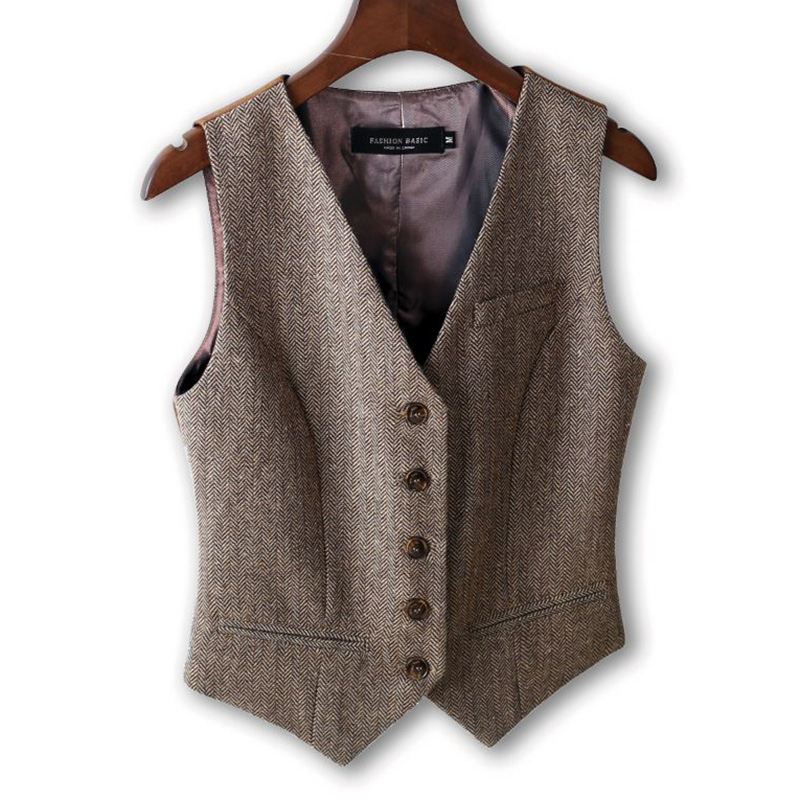 Women Vintage Vest, Plus Size Autumn and Spring Slim Woolen Suit Vest Classic Official Waistcoat