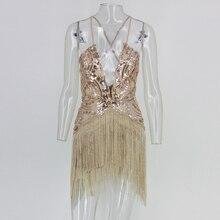 Sexy backless sequin tassel gatsby dress