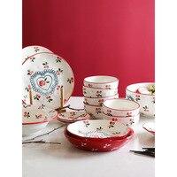 ceramic dinnerware set retro cherry under glazed printed dinner set porcelain cutlery sets 2users 4 users 6 user tableware gifts
