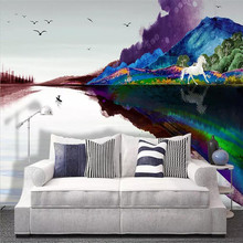 Creative wallpaper abstract ink landscape horse galloping background wall professional custom mural photo
