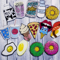 1 PC Cartoon Pizza Drinks Milk Egg Brooch Acrylic Badges Icons on The Backpack Pin Badge Decoration Badges for Clothing