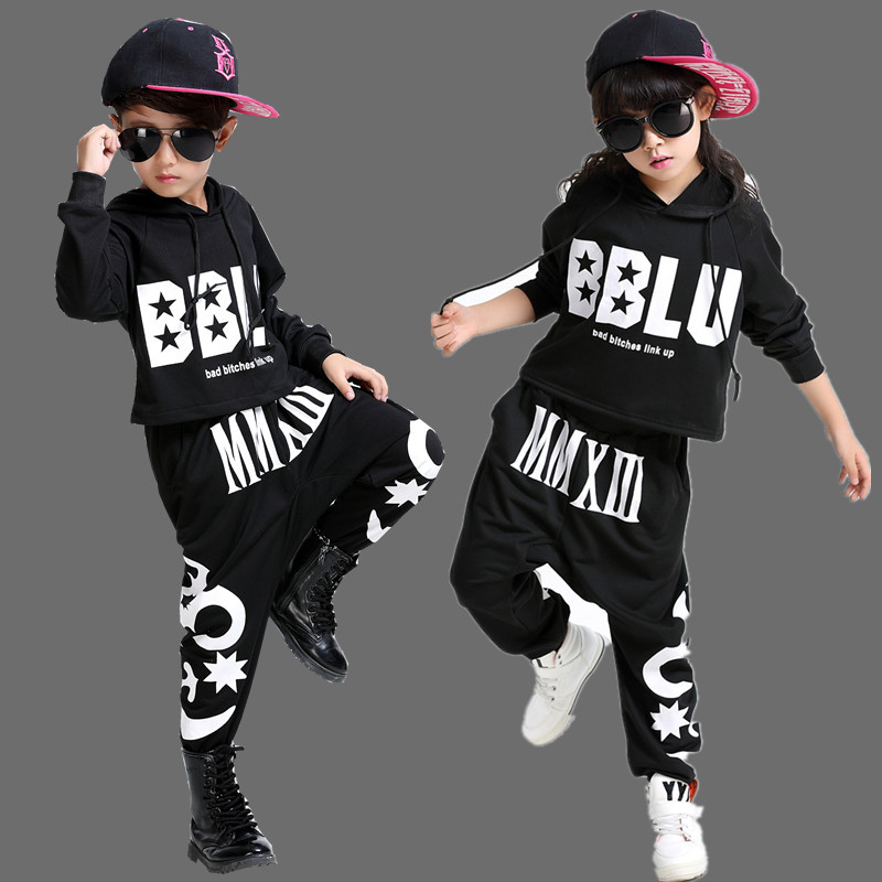 2016 Kids Adults spring summer Geometric Star set Black Costumes Hip Hop dance Pants & hooded sweatshirt kids suits twinset star island summer