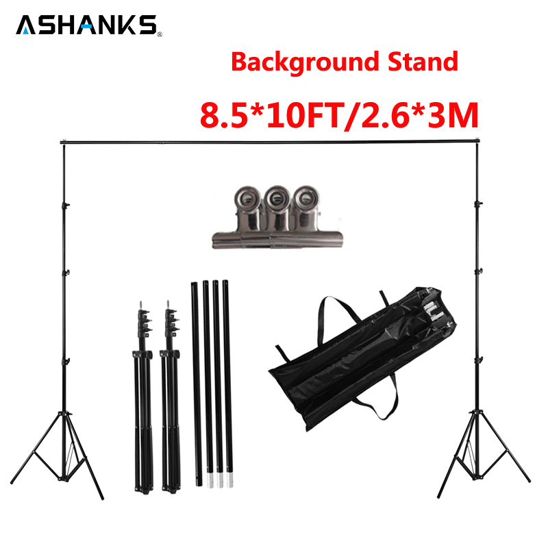 ASHANKS 2.6M X 3M/8.5*10ft Pro Photography Photo Backdrops Background Support System Stands For Photo Video Studio + carry bag ashanks pro photography studio photo backdrops frame background support system 2m x 2 4m stands for photo shoot carry bag
