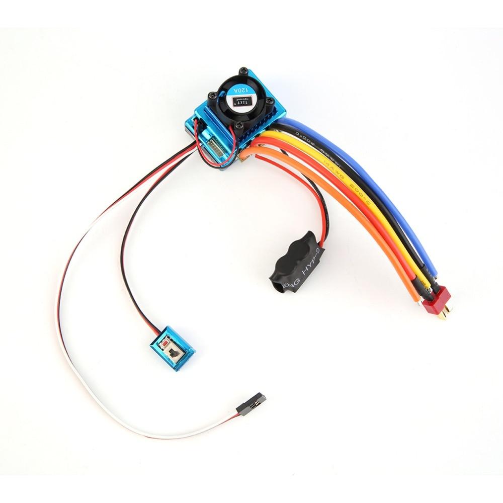 ¡Caliente! 1 unid profesional 120A ESC Sensored Brushless controlador de velocidad para 1/8 1/10 Car/Truck Crawler vehículo RC usado repuestos y accesorios