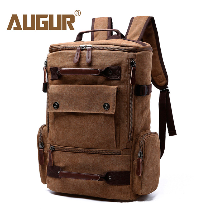 AUGUR Large Capacity Vintage Backpack For Men Canvas Multifunction Travel Backpacks Bag Male Military Backpack Black
