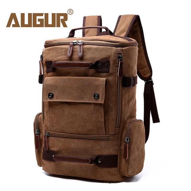 AUGUR Large Capacity Vintage Backpack For Men Canvas Multifunction Travel  Backpacks Bag Male Military Backpack Black 85ce3815f695e