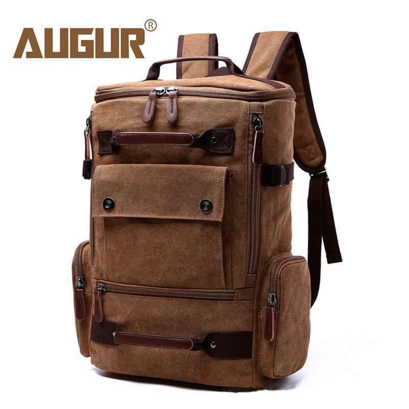AUGUR Large Capacity Vintage Backpack For Men Canvas Multifunction Travel Backpacks Bag Male Military Backpack Black