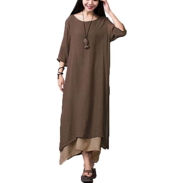 2017 del otoño del resorte mujeres moda de algodón de lino vintage dress casual loose o cuello boho largo maxi vestidos vestidos más el tamaño S-4XL