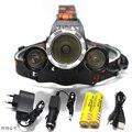 RJ3000 Headlamps 6000LM  XML T6+2R5 3*LED Headlight,Head Lamp Light Flashlight+18650 battery+Car EU/US/AU/UK Charger