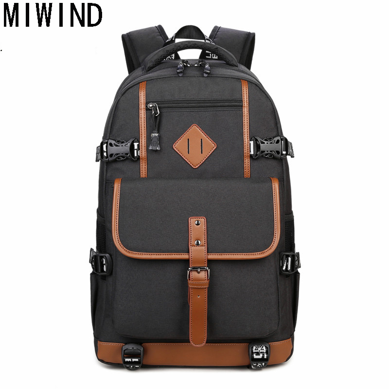 MIWIND Casual 15.6-17 Inch Laptop Bag Backpack Men Large Capacity Student Compact Men's Backpacks School Book Bagpack TSM1163 2017 xqxa brand 15 6 inch laptop bag backpack men large capacity oxford compact men s 17inch backpacks unisex women bagpack