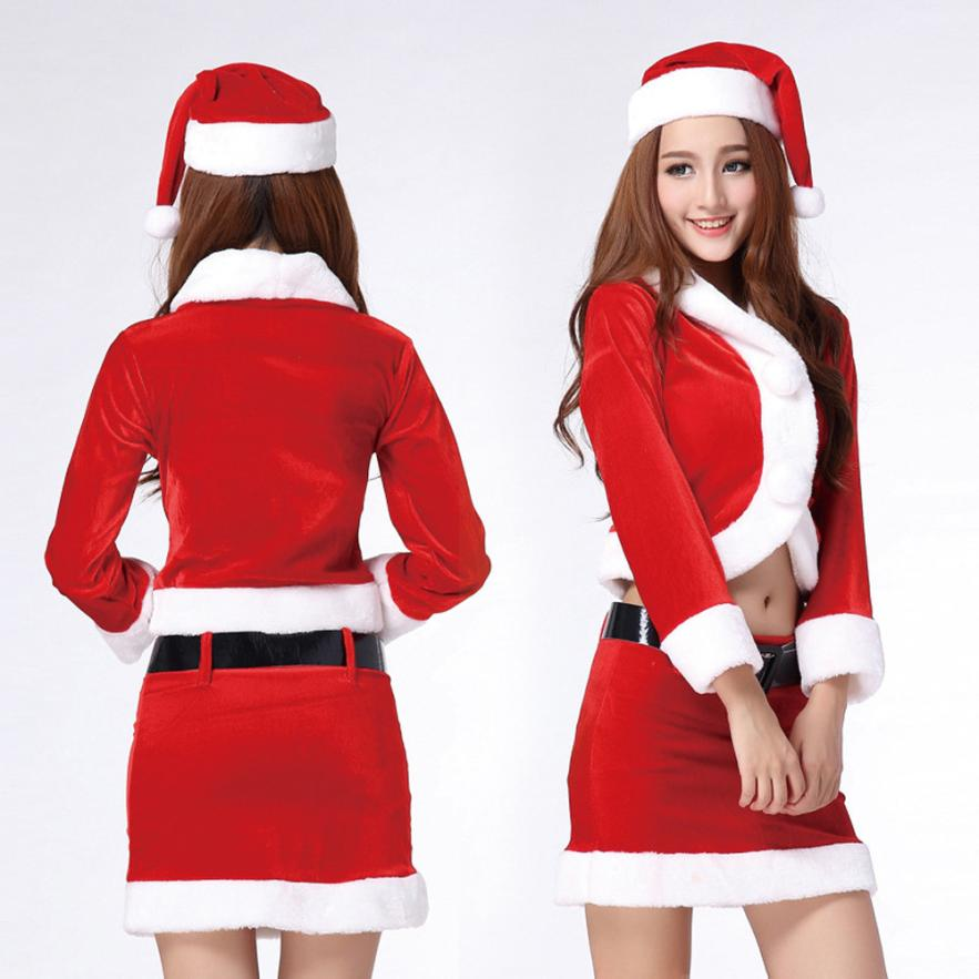 Black Friday VOT7 vestitiy Ladies Santa Costume Women Christmas Party Fancy Two Parts Dress Cosplay Suit Aug 19
