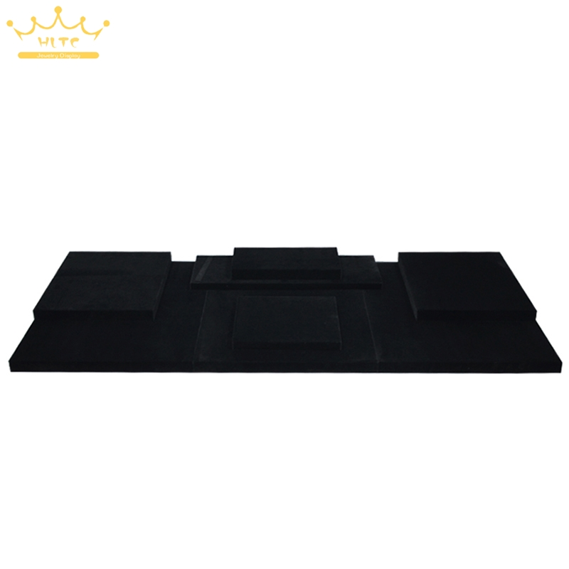 Jewelry Display Window Showcase Black Velvet MDF Board Jewellery Stand Ring Holder Cases ...