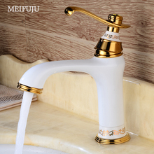 New Brass Basin Faucet Chrome Black Faucet Gold White Sink  Mixer Tap Vanity Faucet Hot Cold Water Bathroom Faucet Deck  Mounted стоимость