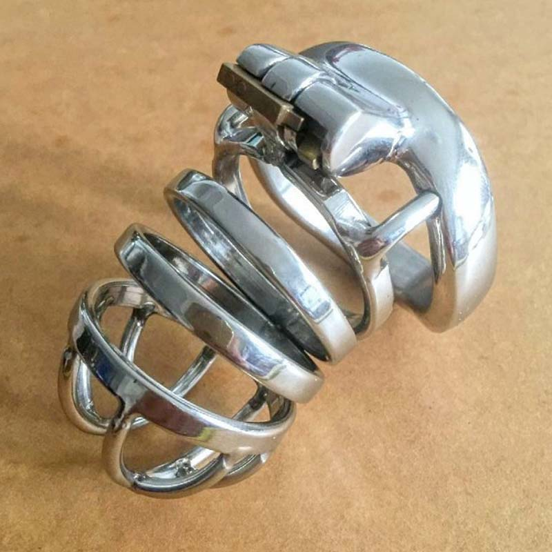 BDSM metal cock cage stainless steel male chastity device penis lock cages cockring <font><b>cbt</b></font> <font><b>sex</b></font> <font><b>toys</b></font> <font><b>for</b></font> <font><b>men</b></font> CB6000S image