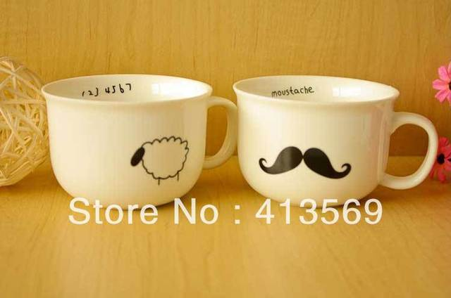 Simple style mustache / raindrop / bird / sheep ceramic mug,Zakka style coffe & milk cup