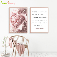 Pink Peony Flower Wall Art Canvas Painting Nordic Minimalism Posters And Prints Pictures For Living Room Decor Unframed