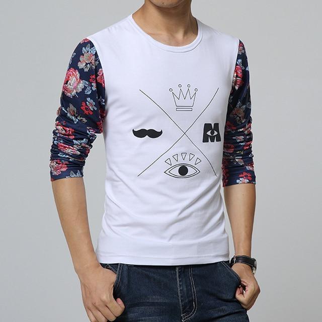 2016 Новый Стиль Моды шею длинными рукавами лоскутное Футболки men Азиатский размер: M ~ XXL мужские футболки